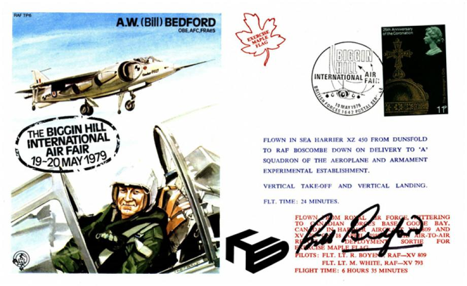 A W Bedford the Test Pilot cover Sgd A W Bedford