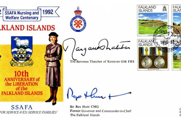 Falklands Cover 30 Sqdn Sgd Margaret Thatcher and Sir Rex Hunt