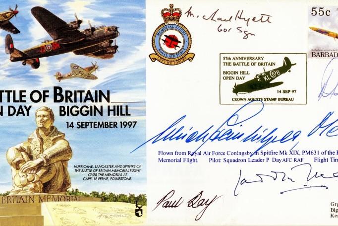Battle of Britain Cover Signed By Doe Day Lucas Hyatt Steinhilper