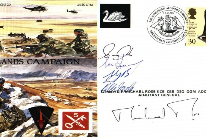 Falklands Cover 30 Sqdn Sgd Gen Rose & crew