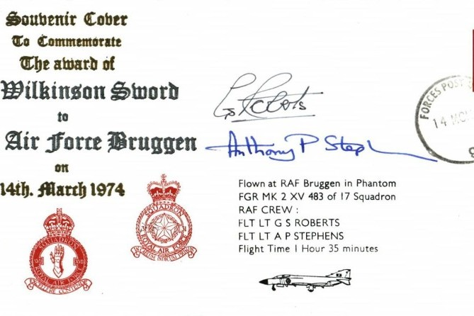 Award of the Wilkinson Sword to RAF Bruggen Sgd G S Roberts and A P Stephens