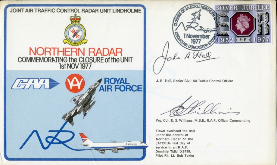 Joint Air Traffic Control Radar Unit RAF Lindholme cover Sgd J R Hall and E S Williams