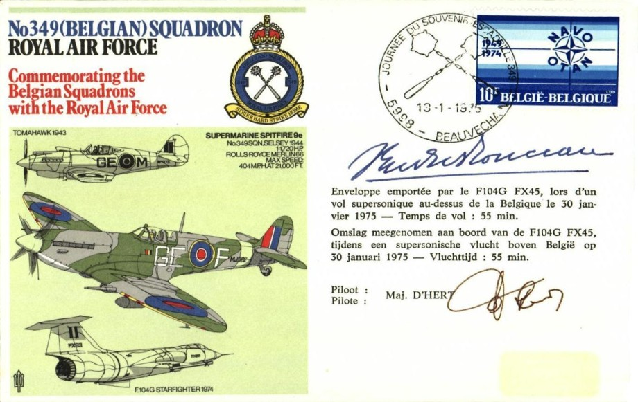 Second Specials cover Signed by the pilot Maj D'Hert and Major General Count Yvan du Monceau de Bergandael