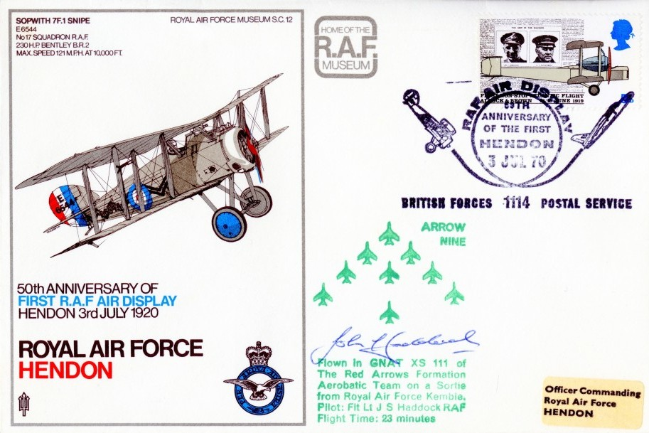 Red Arrows Cover Signed By J S Haddock
