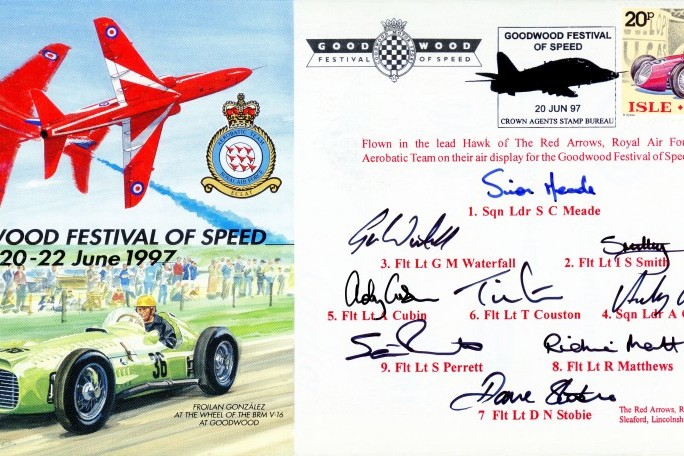 Red Arrows Goodwood 1997 cover team signed