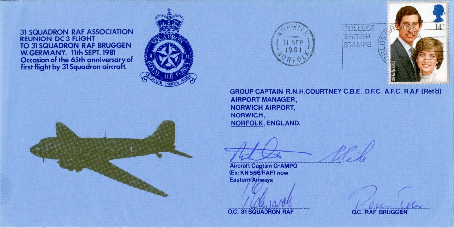 First Flight by 31 Squadron cover Signed by the DC3 Captain, the OC of 31 Squadron and the OC of RAF Bruggen