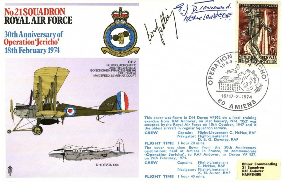 No 21 Squadron cover Sgd by E J D Townesend a member of 21 Squadron in 1915 and Mr Louis Sellier