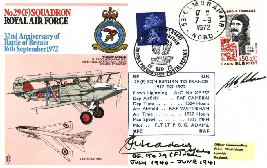 29(F) Squadron cover Sgd by S Widdows a BoB Pilot with 29 Squadron 43 Squadron and 45 Squadron and the pilot P S G Adams