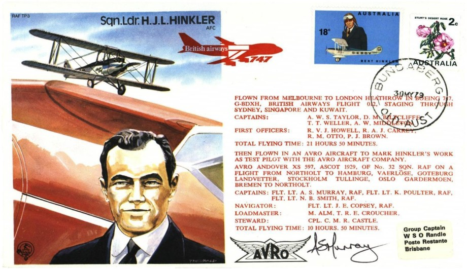 H J L Hinkler the Test Pilot cover Sgd N B Smith