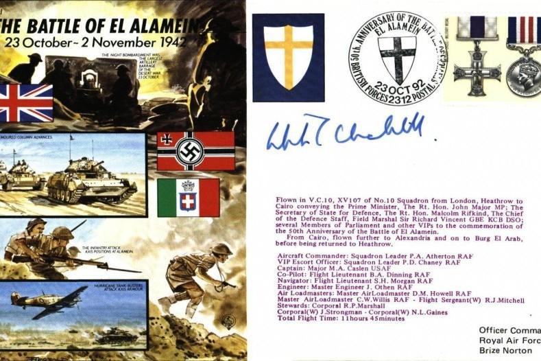 Battle Of El Alamein Cover Signed Winston Churchills Grandson