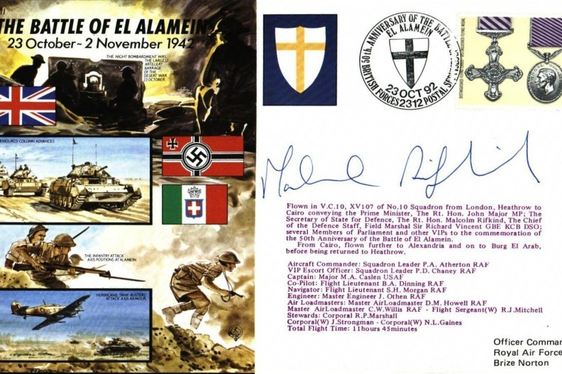 Battle Of El Alamein Cover Signed Malcolm Rifkind