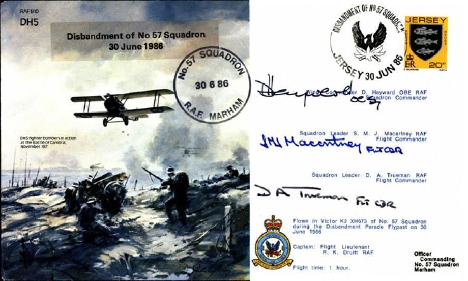 Disbandment of 57 Squadron cover Signed Hayward and 2 more