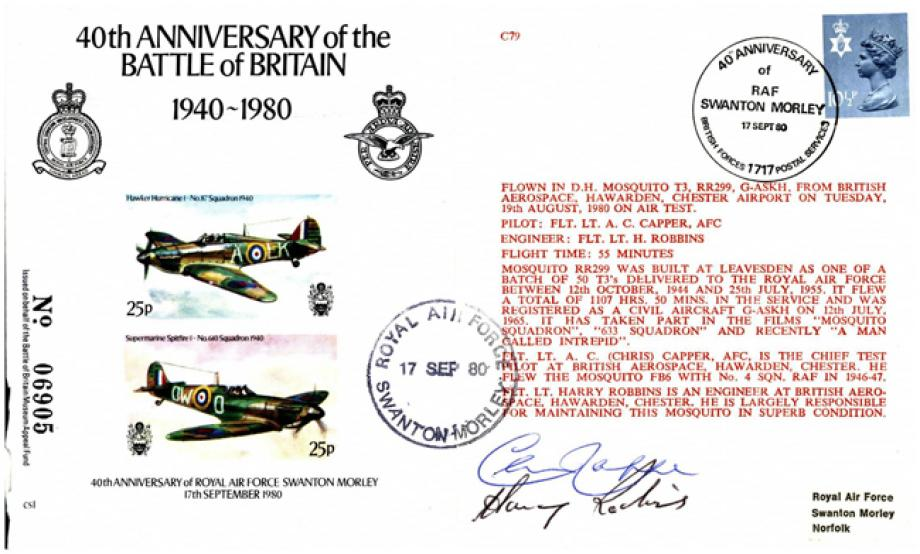 Battle Of Britain 40th Anniversary 1980 Cover Signed Crew