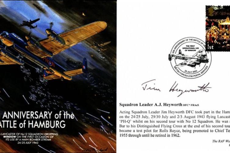 Battle of Hamburg cover Sgd A J Heyworth of 12 Sq