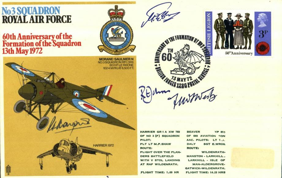 No 3 Squadron cover Sgd by Freddie West VC an RFC Pilot and R E Johns who taught HRH The Prince of Wales to fly