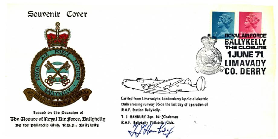 Closure of RAF Ballykelly cover Sgd Chairman of Philatelic Club