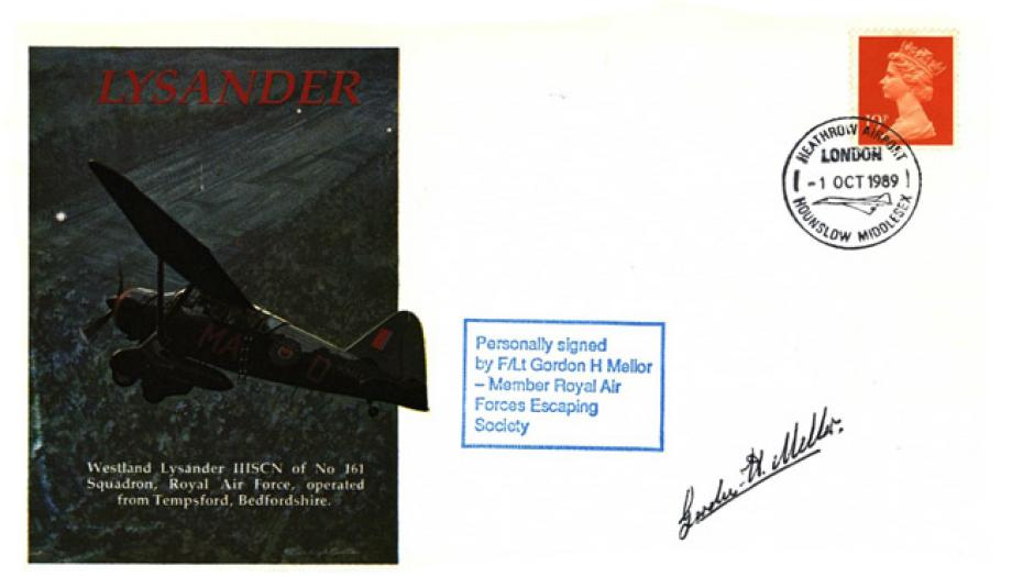 Lysander cover Sgd G H Mellor of 103 Sq