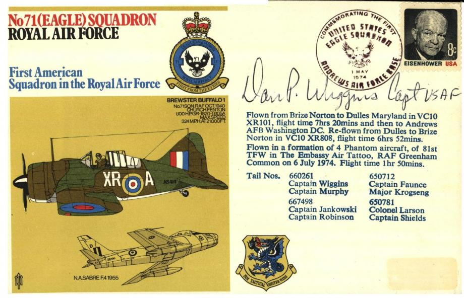 No 71(Eagle) Squadron cover Signed by Cap Dan P Wiggins USAF