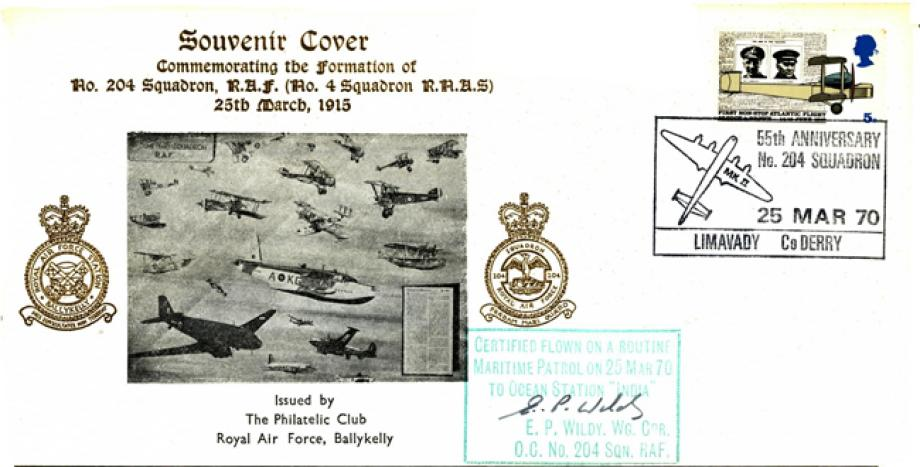 55th Anniversary of 204 Squadron cover Sgd E P Wildy OC of 204 Sq