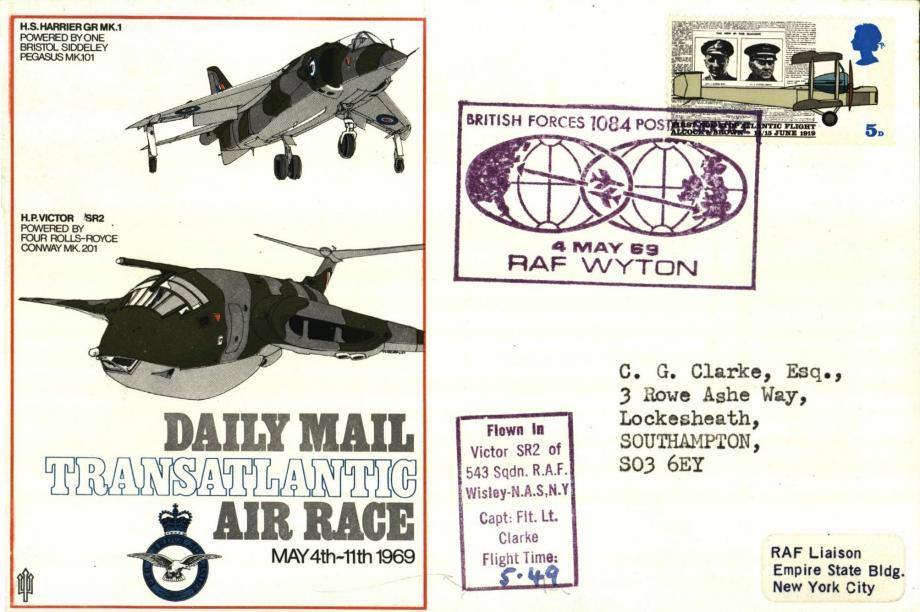 Daily Mail Transatlantic Race cover Sgd Fl Lt Clarke of 543 Sq