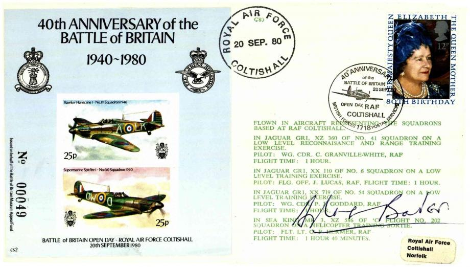 Battle Of Britain 40th Anniversary 1980 Cover Signed D Bader