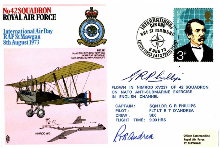 42 Squadron cover Crew signed Captain Sq L G R Phillips  Pilot Fl Lt R T D'Andrea