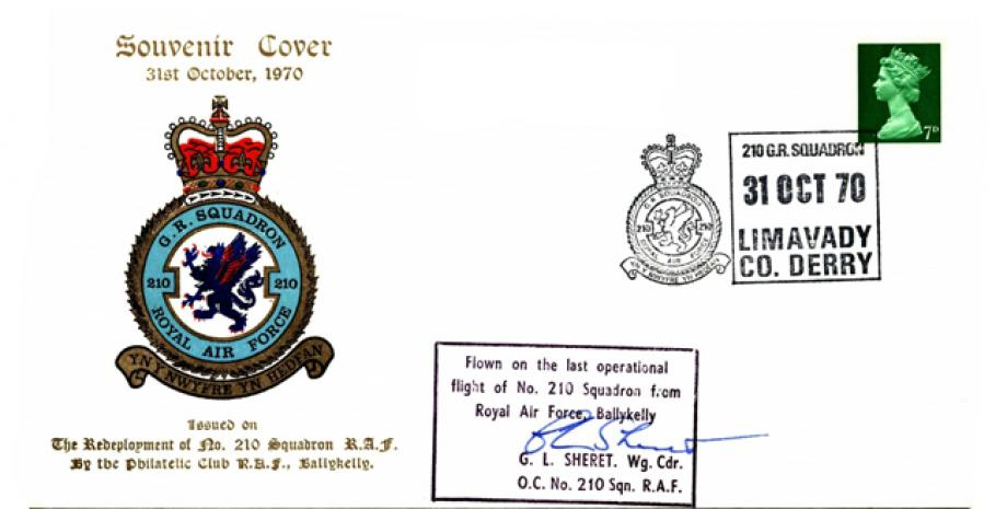 Redeployment of 210 Squadron cover Sgd G L Sheret OC of 210 Sq