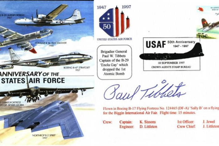 50th Anniversary Of The USAF Cover Signed Tibbets