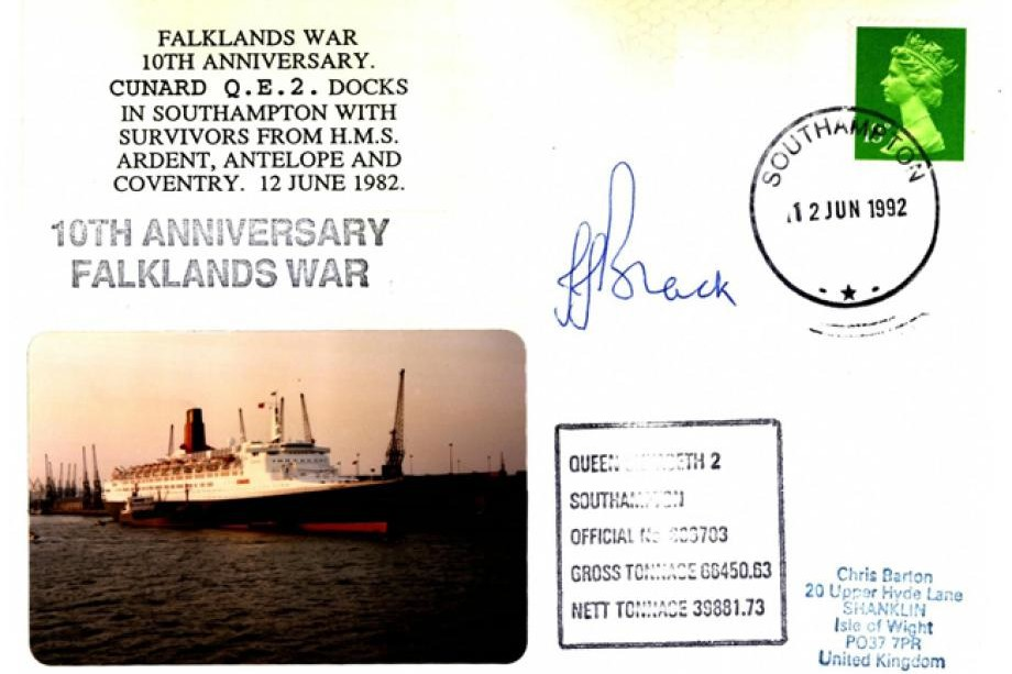 Falklands Cover  QE2 Docks + Ardent Antelope & Coventry