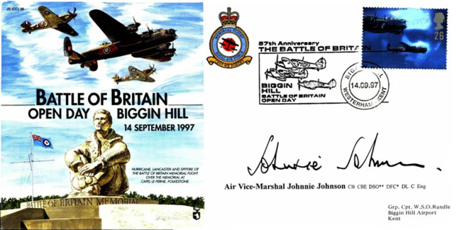 Battle of Britain Cover Signed Johnnie Johnson