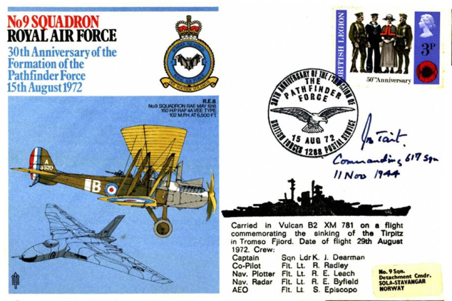 No 9 Squadron cover Signed by J Tait the CO of 617 Squadron
