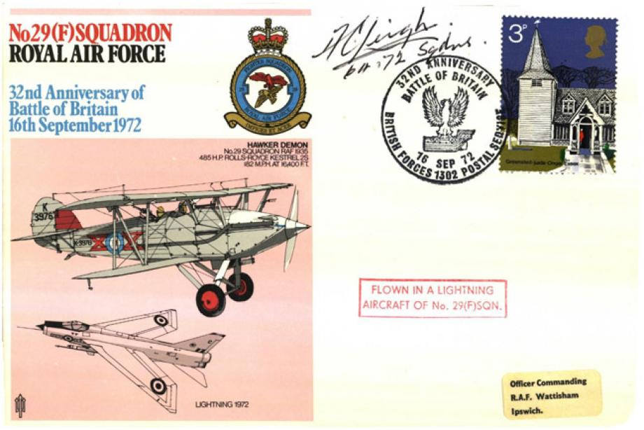 29(F) Squadron cover Signed by A C Leigh a BoB Pilot with 64 Squadron and 72 Squadron