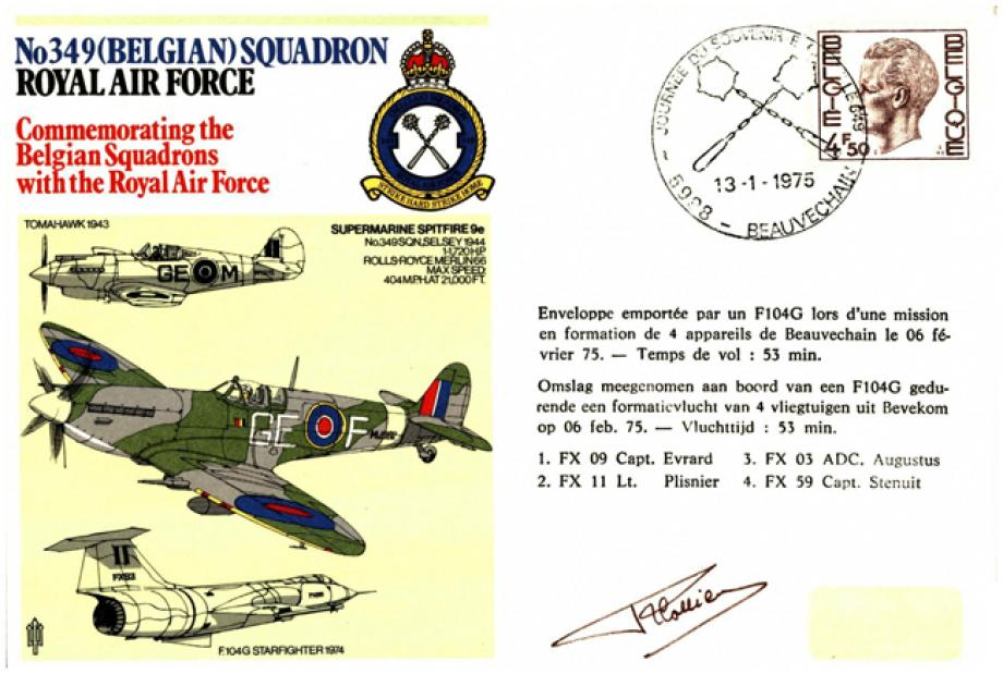 No 349 (Belgian) Squadron cover Signed by Lt Plisnier