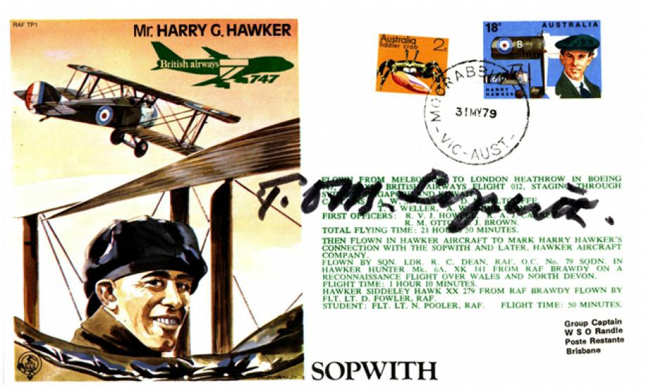 Harry Hawker Test Pilot cover Sgd Tom Sopwith
