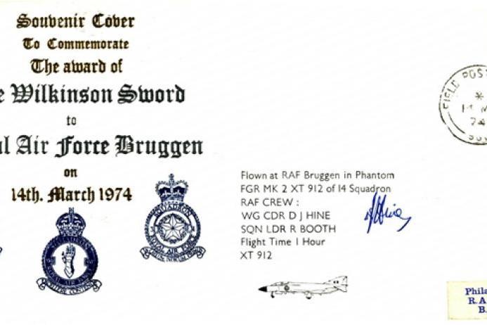 Award of the Wilkinson Sword to RAF Bruggen cover Sgd D J Hine