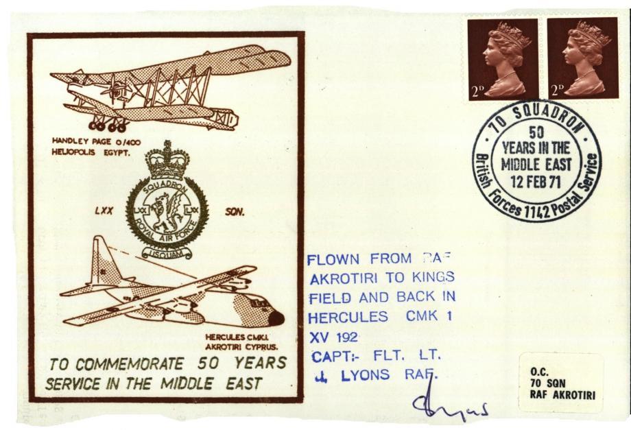 LXX Squadron cover Sgd pilot J Lyons