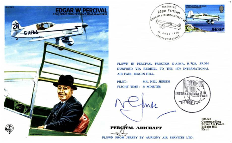 Edgar W Percival Test Pilot cover Sgd Neil Johnson