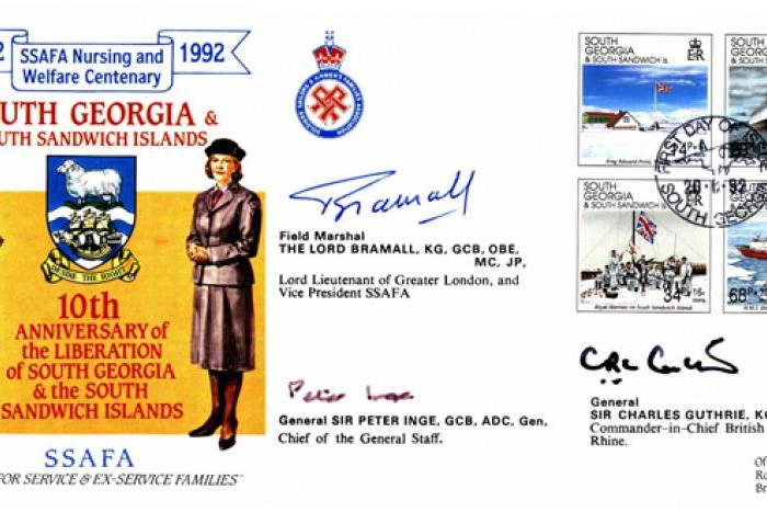 Falklands Cover 30 Sqdn Sgd Lord Bramall Inge and Guthrie