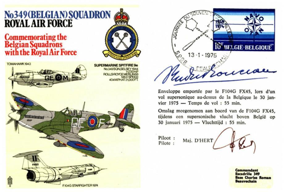 No 349 (Belgian) Squadron cover Sgd pilot Maj D'Hert & Maj Gen Count Yvan Du Monceau De Bergendael