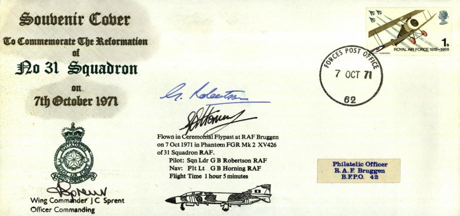 Reformation of 31 Squadron cover Sgd J C Sprent the OC of 31 Sq G B Robertson and G B Horning
