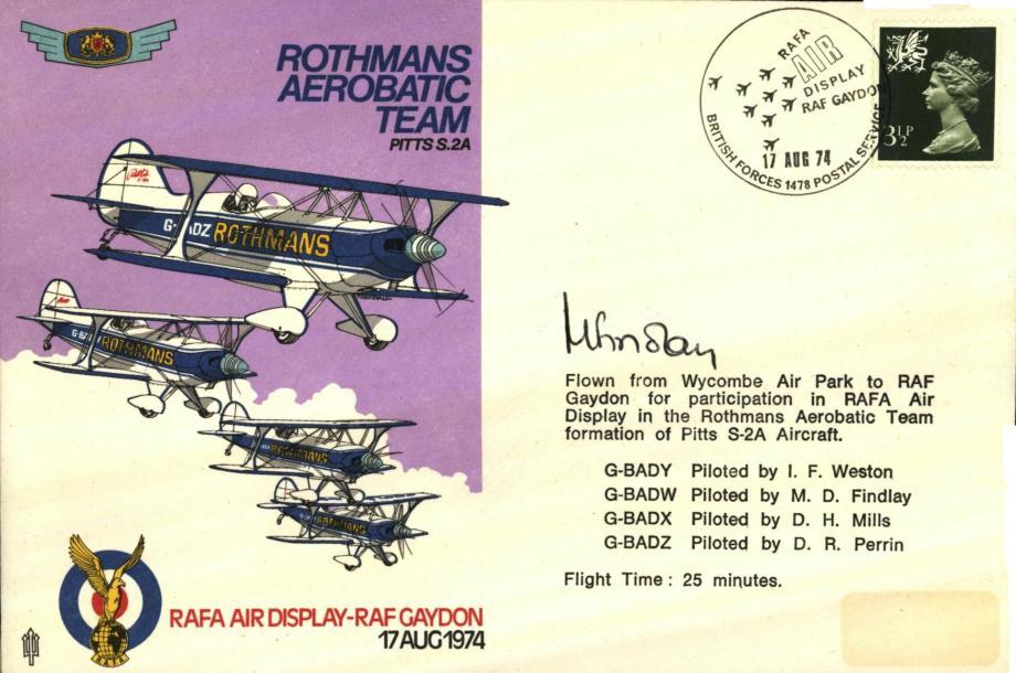 Rothmans Aerobatic Team cover Sgd M D Findlay