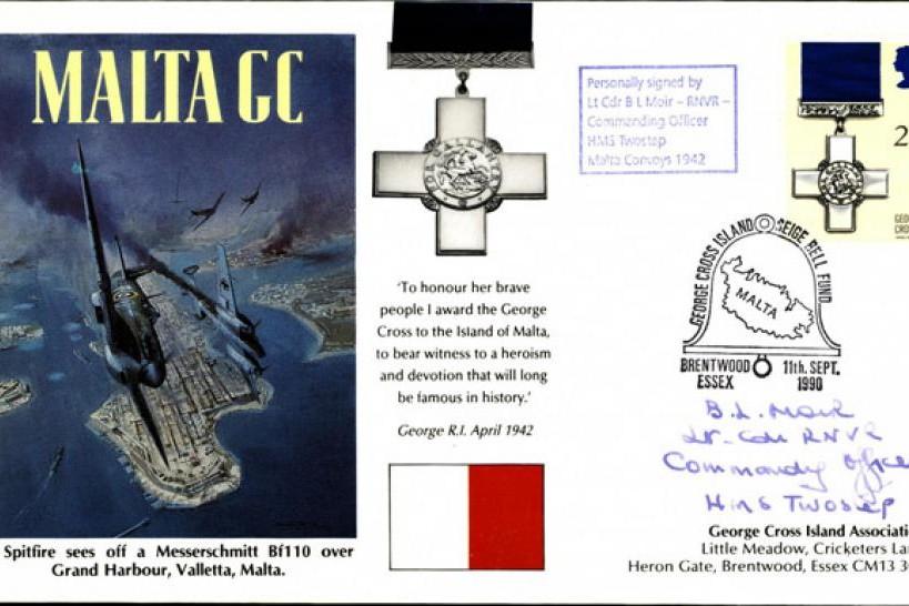 Malta GC cover Sgd B L Moir