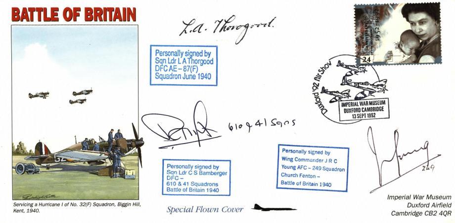 Battle Of Britain Cover Signed 3 BoB Pilots