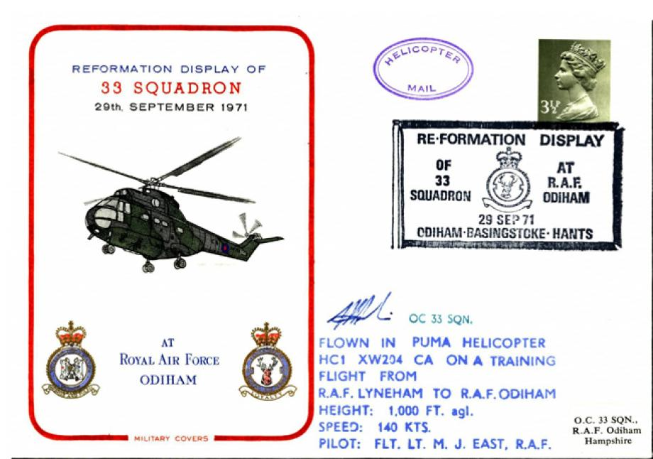 Reformation of 33 Squadron at RAF Odiham Sgd OC 33 Sq