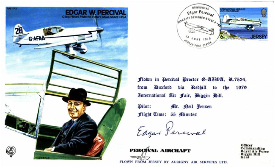 Edgar W Percival Test Pilot cover Sgd Edgar Percival