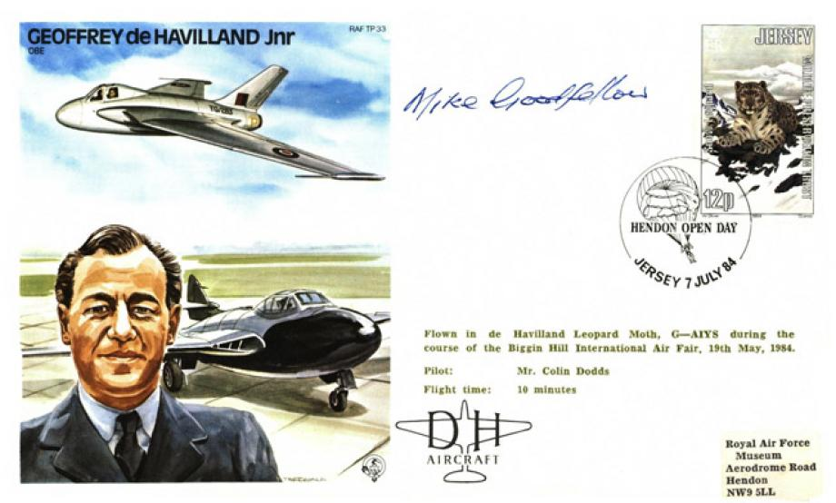 Geoffrey de Havilland Jnr the Test Pilot cover Sgd Mike Goodfellow