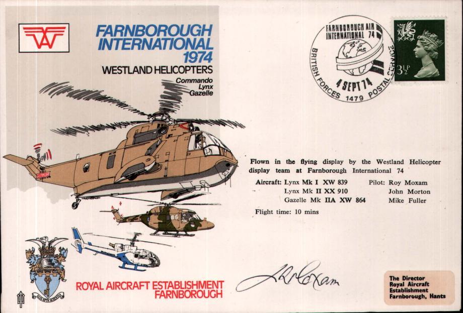 Farnborough International 1974 cover Sgd pilot