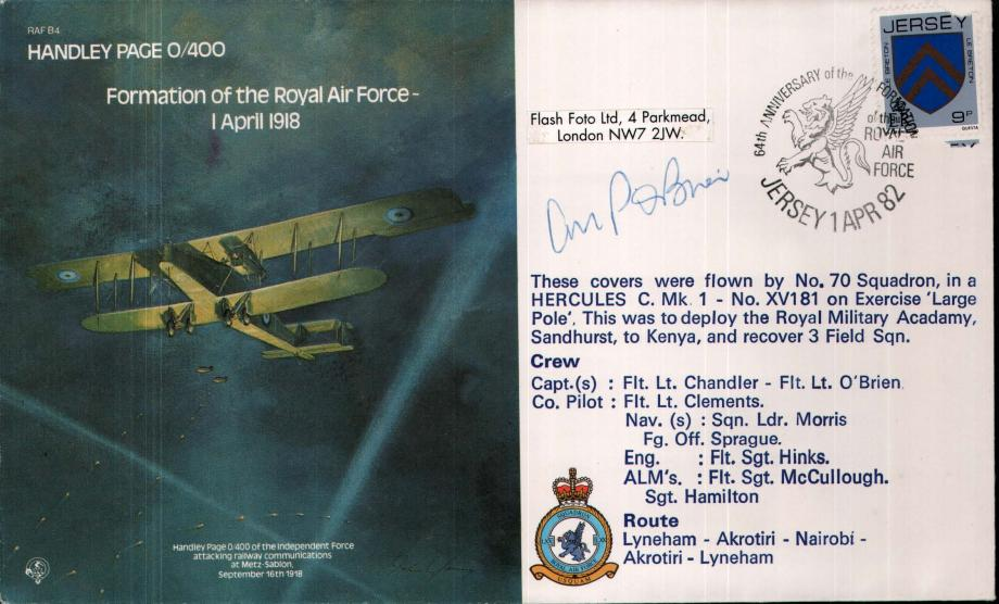 Handley Page Formation of the RAF cover Signed O'Brien