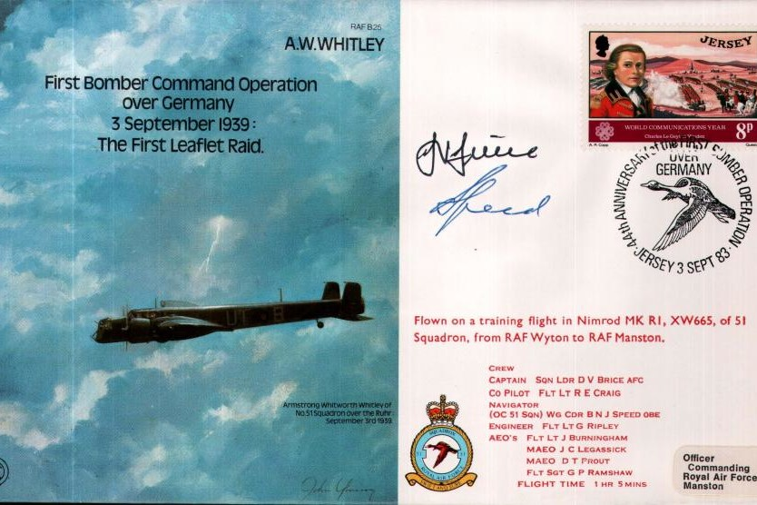 Armstrong Whitworth Whitley cover Signed Brice and Speed