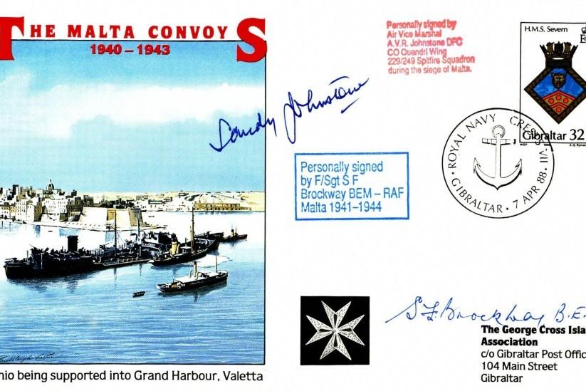 Malta GC cover Sgd BoB pilot Sandy Johnstone and S F Brockway